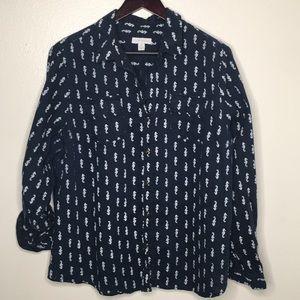 Charter Club Linen Seahorse Button Up Shirt SzXL